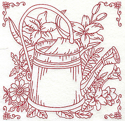 Embroidery Design: Watering can with flowers large 6.93w X 6.93h