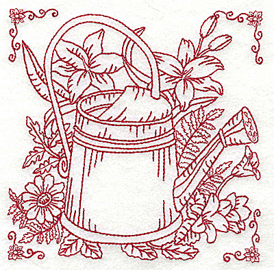 Embroidery Design: Watering can with flowers medium 4.95w X 4.95h