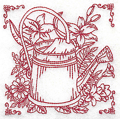 Embroidery Design: Watering can with flowers small 3.87w X 3.84h