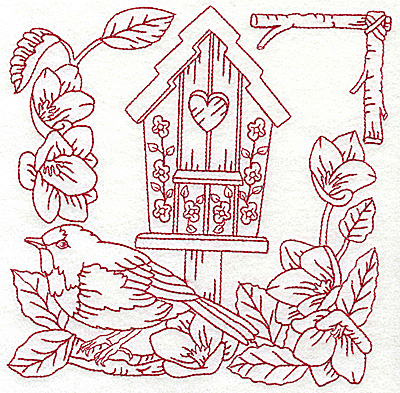 Embroidery Design: Birdhouse large 6.93w X 6.95h