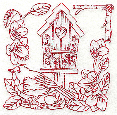 Embroidery Design: Birdhouse medium 4.95w X 4.97h