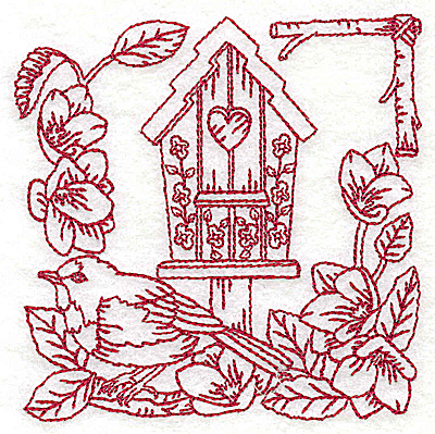 Embroidery Design: Birdhouse small 3.84w X 3.85h
