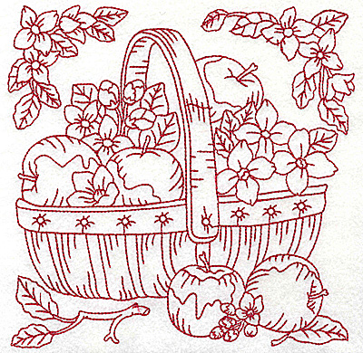 Embroidery Design: Basket of apples large 6.92w X 6.94h