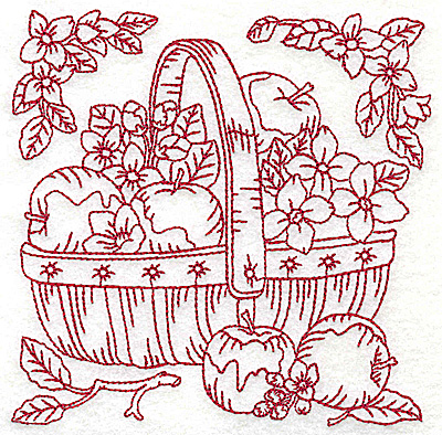 Embroidery Design: Basket of apples medium 4.95w X 4.96h