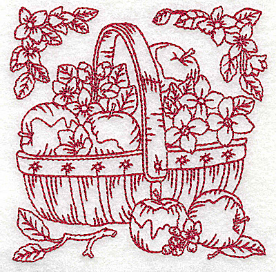 Embroidery Design: Basket of apples small 3.81w X 3.82h