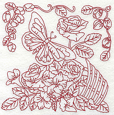 Embroidery Design: Butterfly with basket of flowers large 6.95w X 6.96h