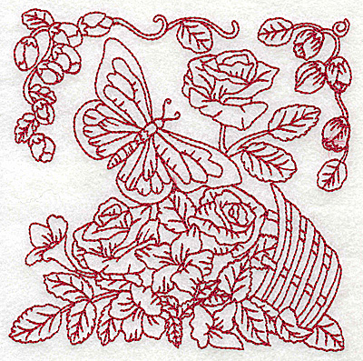 Embroidery Design: Butterfly with basket of flowers medium 4.97w X 4.97h
