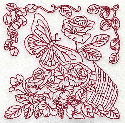 Embroidery Design: Butterfly with basket of flowers small 3.85w X 3.86h
