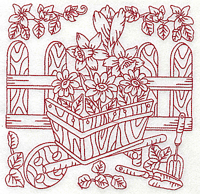 Embroidery Design: Wheelbarrow of flowers large 6.94w X 6.90h