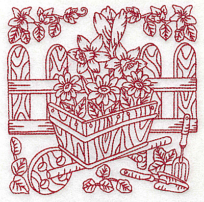 Embroidery Design: Wheelbarrow of flowers medium 4.96w X 4.94h