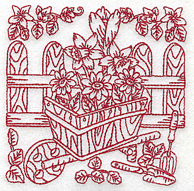 Embroidery Design: Wheelbarrow of flowers small 3.88w X 3.85h