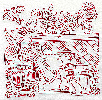 Embroidery Design: Floral pot with watering can and bucket large 6.97w X 6.93h