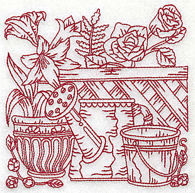 Embroidery Design: Floral pot with watering can and bucket medium 4.97w X 4.94h