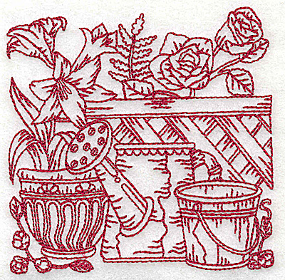 Embroidery Design: Floral pot with watering can and bucket small 3.87w X 3.85h