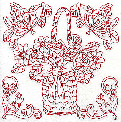Embroidery Design: Floral basket with bow and butterflies large 6.96w X 6.95h