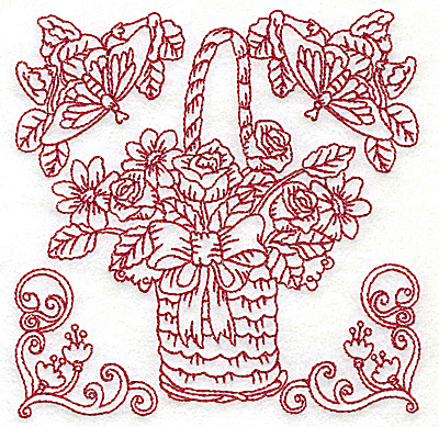 Embroidery Design: Floral basket with bow and butterflies medium 4.97w X 4.97h