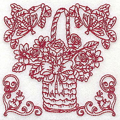 Embroidery Design: Floral basket with bow and butterflies small 3.85w X 3.85h