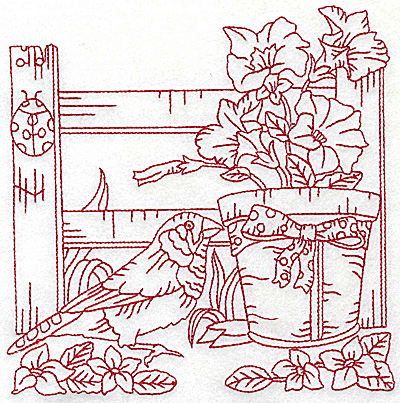 Embroidery Design: Potted flowers fence bird and ladybug large 6.93w X 6.91h