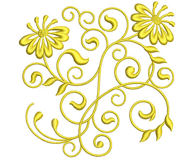 Embroidery Design: Golden Floral Swirls 4 Sm 3.94w X 3.93h