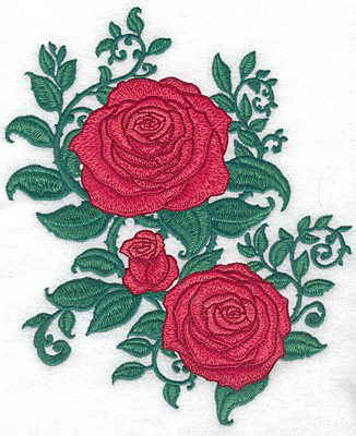 Embroidery Design: Rose trio large 8.82w X 7.36h