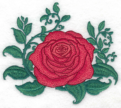 Embroidery Design: Single rose large5.66w X 5.00h