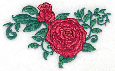 Embroidery Design: Rose and bud small4.79w X 2.89h