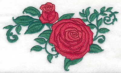Embroidery Design: Rose and bud large6.96w X 4.20h