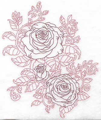 Embroidery Design: Rose trio redwork large8.81w X 7.36h