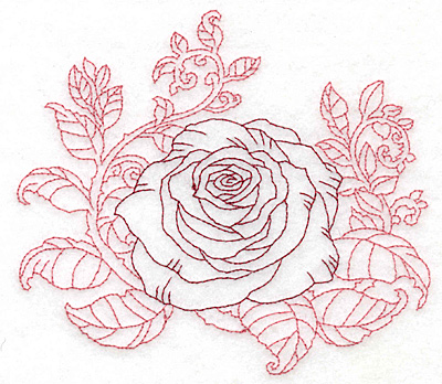 Embroidery Design: Single rose redwork large 5.62w X 4.98h