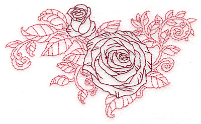 Embroidery Design: Rose and bud redwork small4.80w X 2.86h