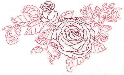Embroidery Design: Rose and bud redwork large 6.96w X 4.15h