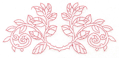 Embroidery Design: Rose leaves curved redwork large5.80w X 2.65h