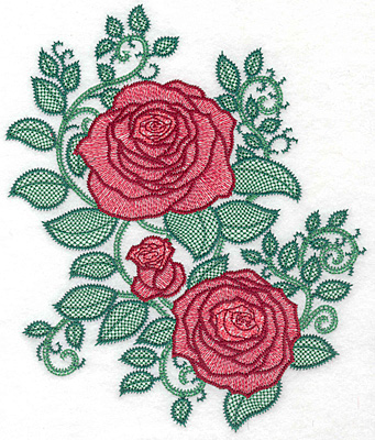 Embroidery Design: Rose trio artistic large8.83w X  7.46h