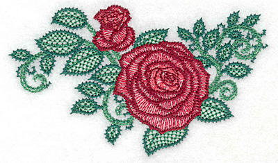 Embroidery Design: Rose and bud artistic small 4.89w X 2.86h