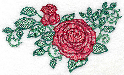 Embroidery Design: Rose and bud artistic large 6.98h X 4.08h