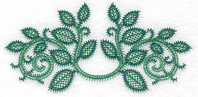 Embroidery Design: Rose leaves artistic curved large 5.83w X 2.80h