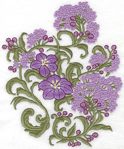 Embroidery Design: Spring Blooms B realistic 9.00w X 7.41h