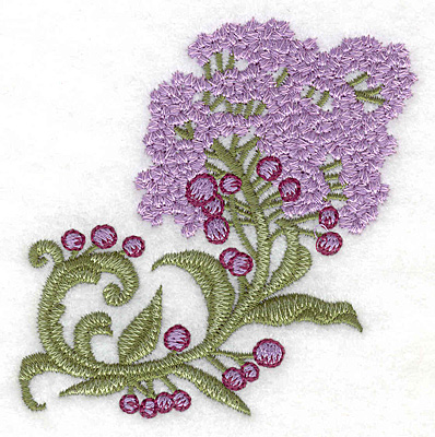 Embroidery Design: Lilac bloom realistic small 3.51w X 3.50h