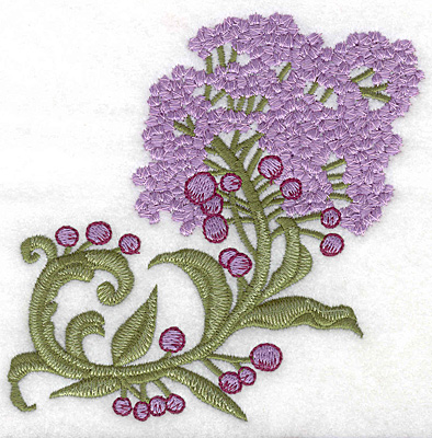 Embroidery Design: Lilac bloom realistic large 4.98w X 4.97h