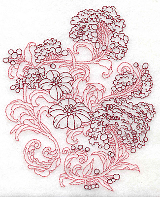 Embroidery Design: Spring Blooms A redwork 4.94w X 6.01h