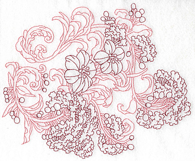 Embroidery Design: Spring Blooms B redwork 9.02w X 7.41h