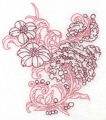 Embroidery Design: Spring Blooms C redwork small 4.07w X 4.63h