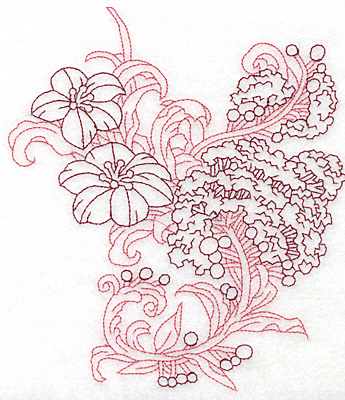 Embroidery Design: Spring Blooms C redwork large 6.10w X 6.95h
