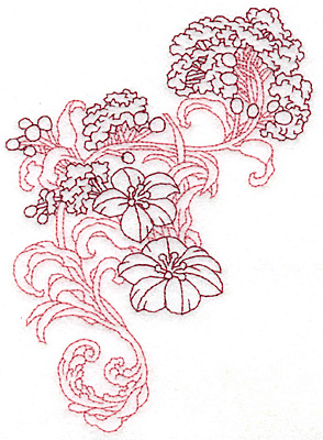 Embroidery Design: Spring Blooms D redwork 4.02w X 5.57h