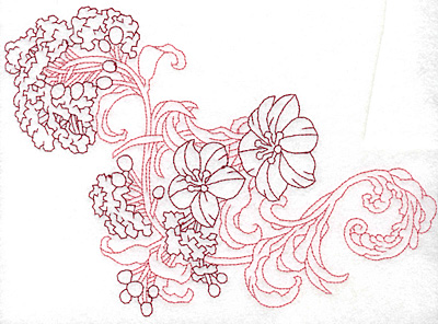 Embroidery Design: Spring Blooms E redwork 8.35w X 6.03h