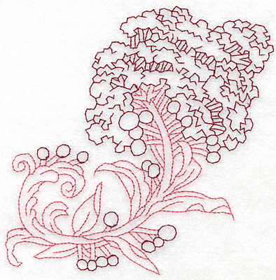 Embroidery Design: Lilac bloom redwork large 4.98w X 4.99h