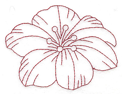Embroidery Design: Floral bloom redwork large 3.76w X 2.79h