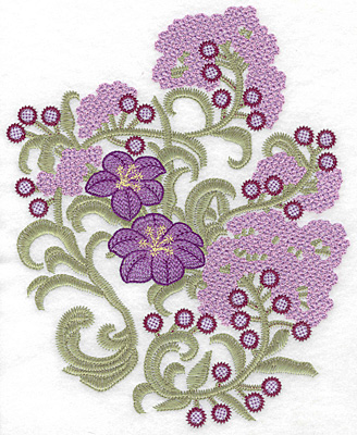 Embroidery Design: Spring Blooms B artistic 9.17w X 7.48h