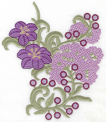 Embroidery Design: Spring Blooms C artistic large 6.15w X 7.23h