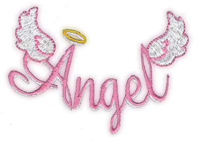 "Embroidery Design: Angel3.38"" x 2.5"""